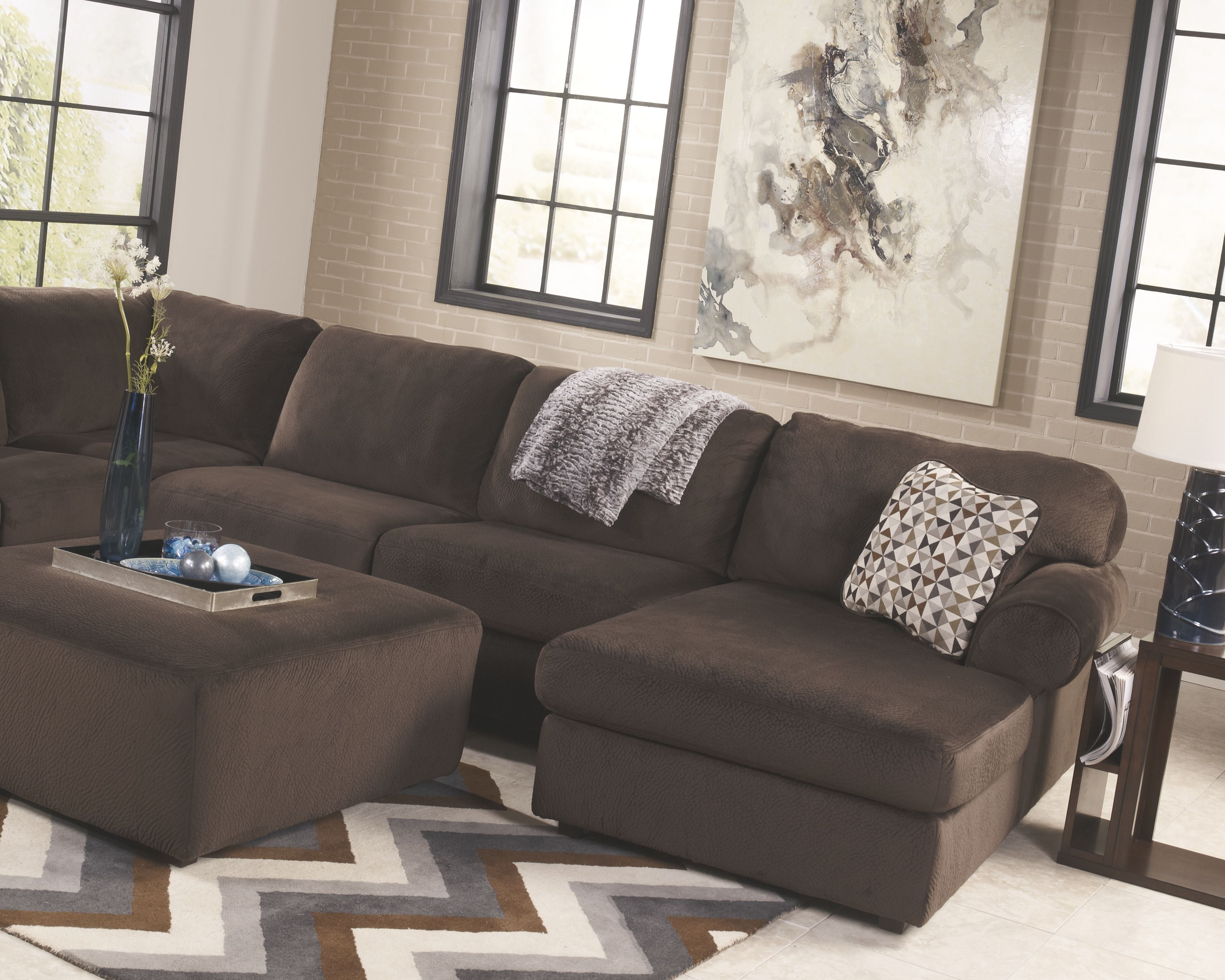 Pleasant Jessa Place 3 Piece Sectional With Chaise Chocolate Gmtry Best Dining Table And Chair Ideas Images Gmtryco