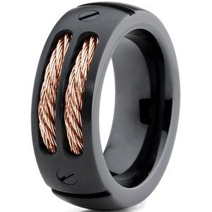 Titanium Wedding Band Ring 8mm For Men Women Comfort Fit Black Rose Gold Steel Cable Brushe Wedding Ring Diamond Band Rose Gold Mens Ring Titanium Wedding Band
