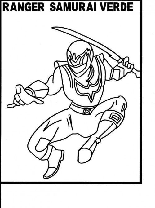 Power Rangers Samurai Verde Coloring Page   Power Rangers Party ...