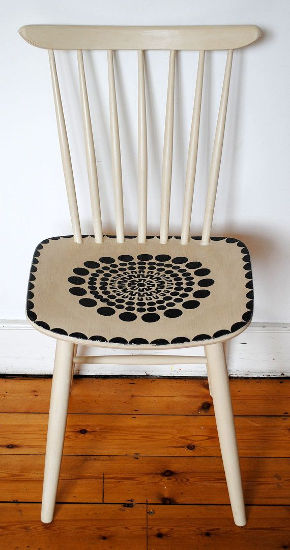 Awesome Painted Wooden Chair By NicoletteTabram On Etsy, $110.00