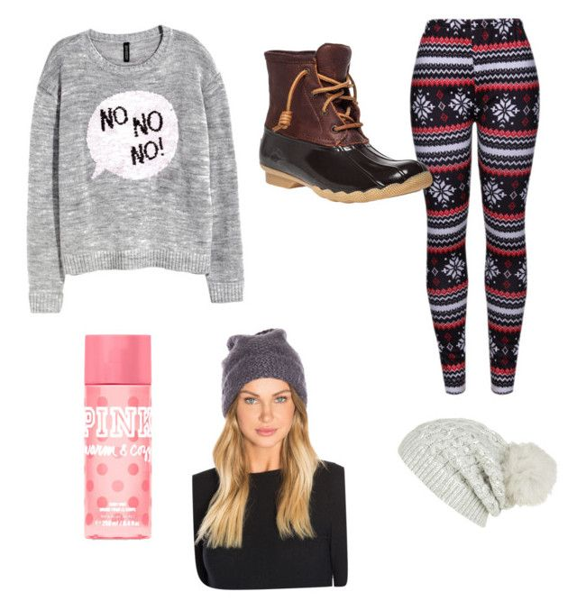 """""""H&M Christmas sweater"""" by tphillips356 on Polyvore featuring H&M, WithChic, Sperry, Victoria's Secret PINK, Hat Attack and White + Warren"""