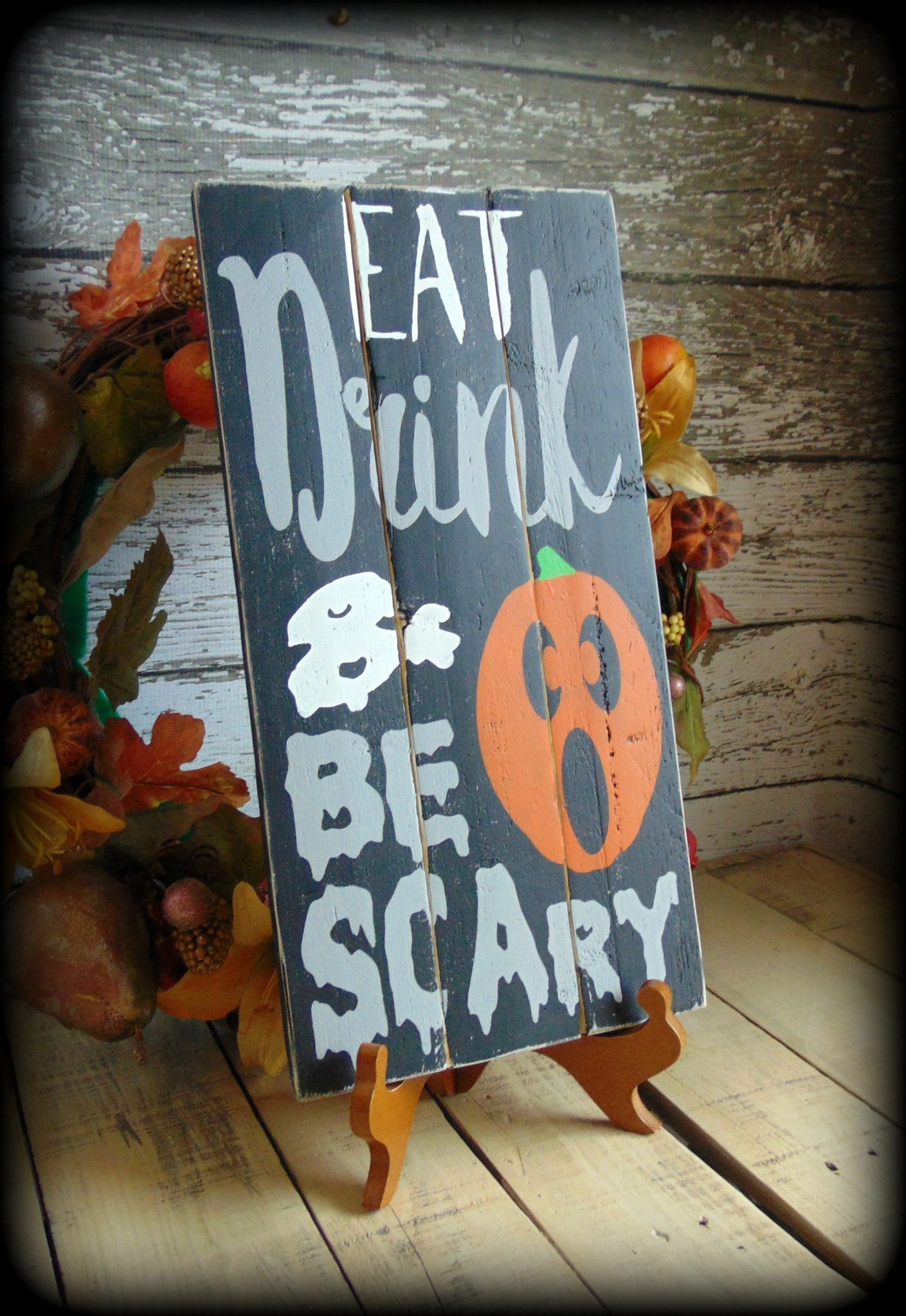 Rustic Pallet Sign Handmade Wooden Sign, Primitive Halloween - Primitive Halloween Decor