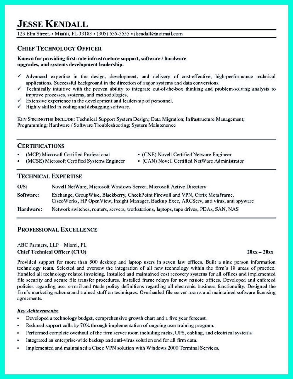 Cto Resume Or Chief Technical Officer Resume Can Be Considered As Resume For Senior Level Technology So It Must Include The Technology Expertise It Cfo Re