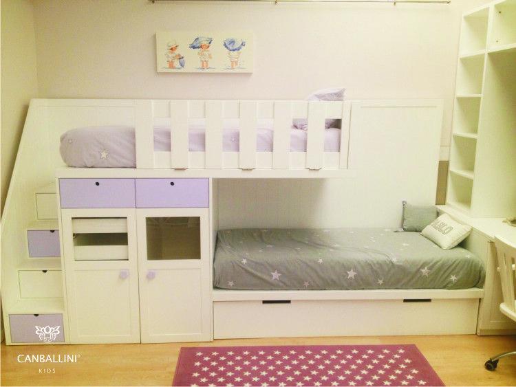 Litera tren con tres camas y dos armarios decoraci n - Habitaciones infantiles tren ...