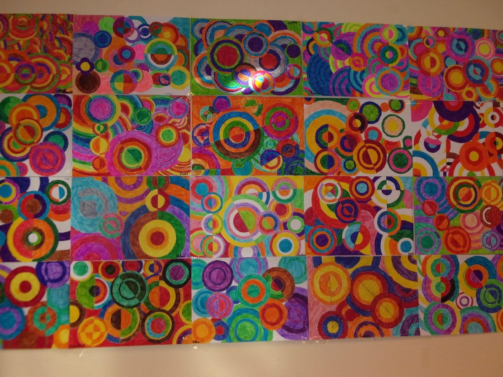 A La Maniere De Delauney Arts Visuels Et Geometrie Arts Visuels Cm2 Activite Manuelle Peinture Arts Visuels Cycle 3