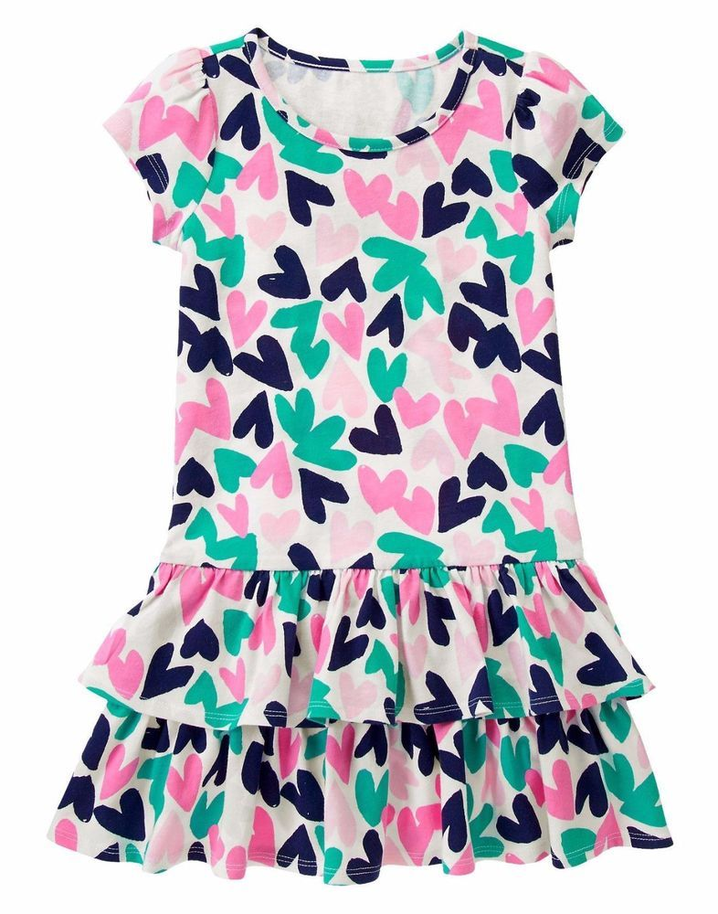 e61790391a17 NWT Gymboree PICTURE DAY Girl Heart Print Tiered Drop Waist Knit Dress Size  5 5T #Gymboree #140140970GYM001 #ChurchEverydayHolidayPartyValentinesDay