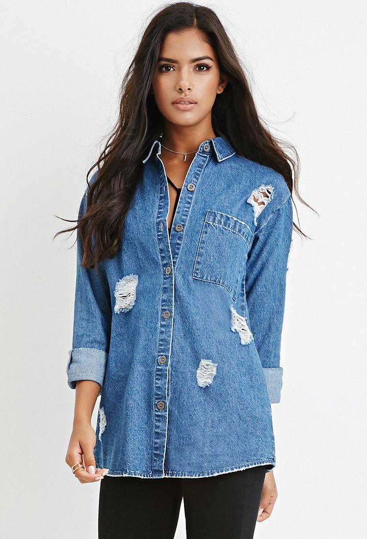 a00c55b5046 Longline Distressed Denim Shirt