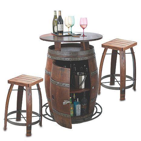Outdoor Vintage Oak Wine Barrel Bistro Table & Bar Stools - Wine Enthusiast