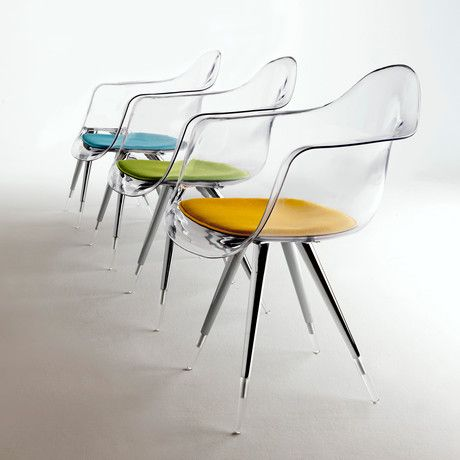 this stunning and almost transparent chair features a chrome base