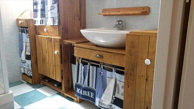 Wood Pallet Bathroom Decor Idees De Meubles Meuble Palette Salle De Bains Palette