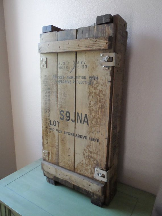 Vintage reclaimed salvaged wood Military crate Great for ManCave Custom Medicine  cabinet / Shelves / Storage - Vintage Reclaimed Salvaged Wood Military Crate Great For ManCave