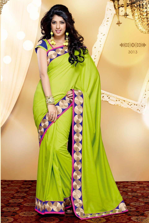 ab0178c116 Craftsvilla-Parrot-Green-COlour-Chiffon-Saree-Decorated-With-Lace-Border- Work-Chiffon-Sarees-