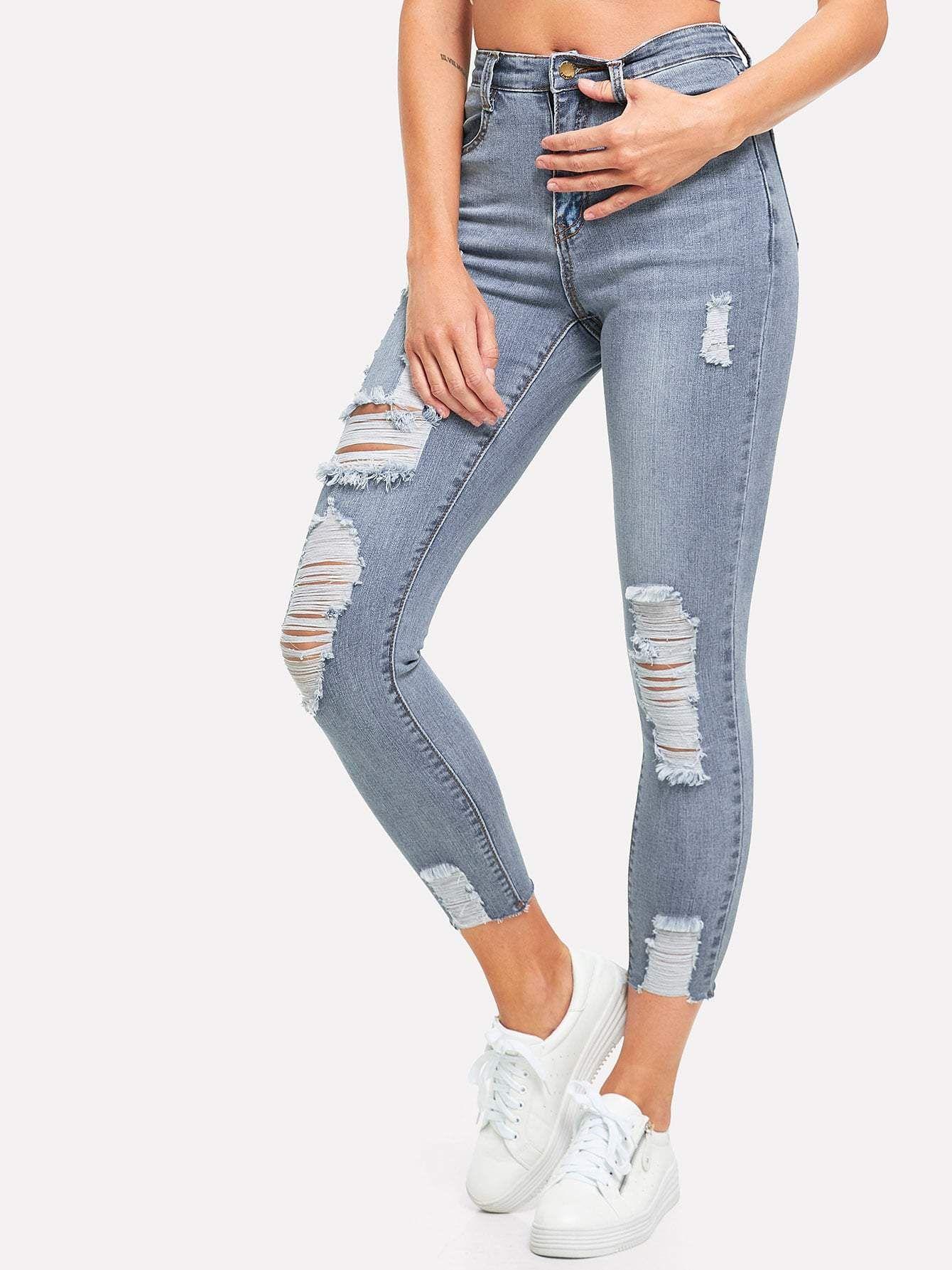 Ripped Bleach Wash Skinny Jeans Jeans Denim Women Fashion Washed Jeans Cute Ripped Jeans Women Jeans