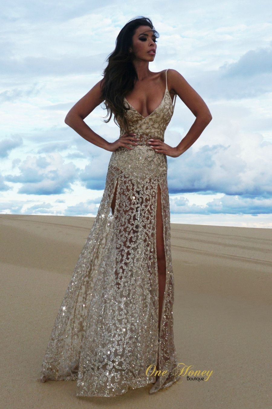 Alamour The Label ROZAY Gold Sheer Sequin Formal Gown Dress , Dress ...