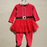 Wish | Newborn Baby Girl Long Sleeve Christmas Santa Claus Tulle Dress Outfits Costume 0-24M