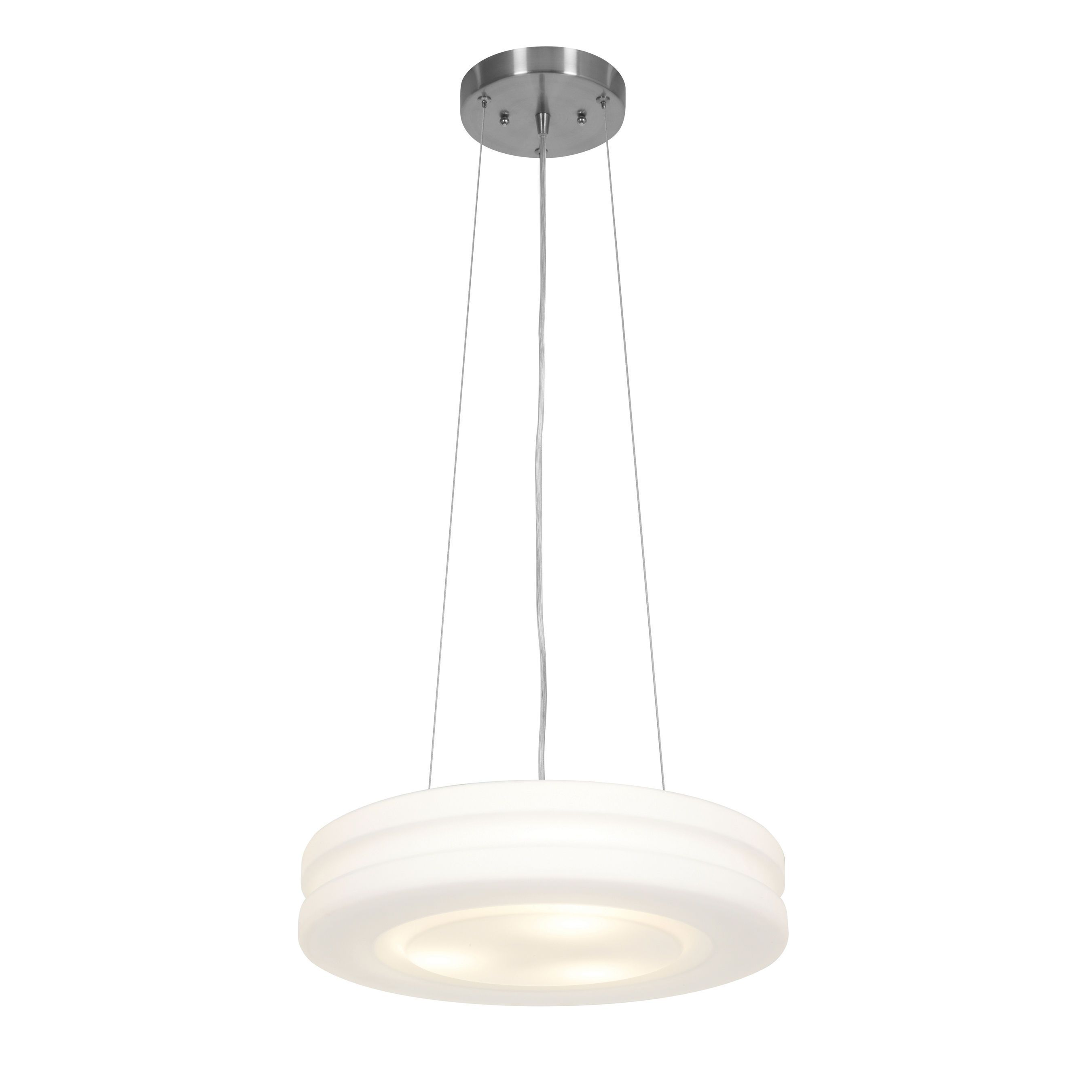 Access Lighting Altum 3 Light 16 Inch Brushed Steel Pendant With Opal Gl