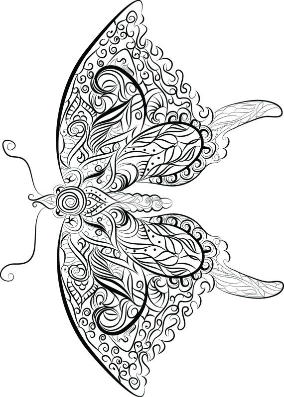 butterfly instant download to print and colour by