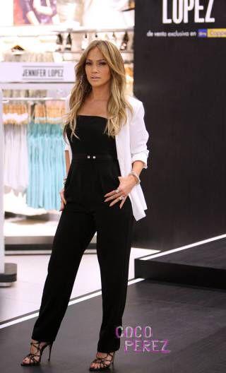 35473728bc Jennifer Lopez black jumpsuit with white blazer
