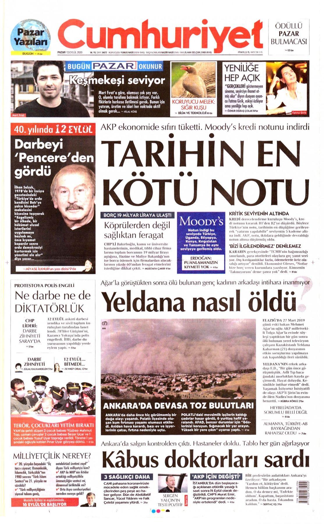 Cumhuriyet Gazetesi 1. Sayfa - 13 Eylül 2020 #CumhuriyetGazetesi  #gazetebirincisayfaları #gazetemanşetleri #alaturka…