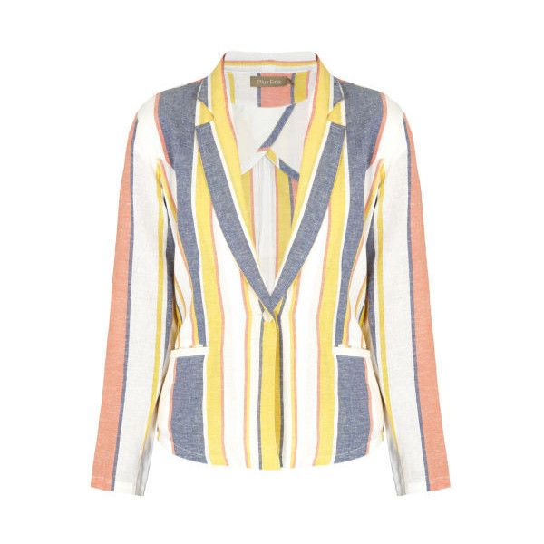 Plus Fine Deckchair Stripe Blazer ($175) ❤ liked on Polyvore featuring outerwear, jackets, blazers, striped jacket, white blazer jacket, 1 button blazer, cream blazer and one button jacket