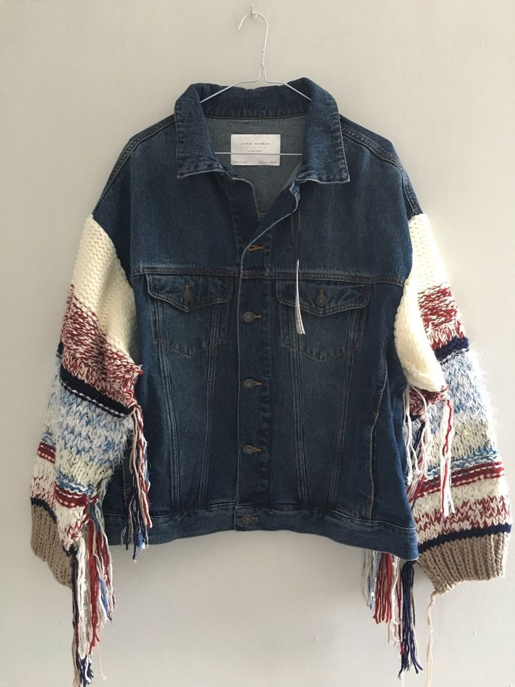 Ecote Zara in Top Boho People Knit Denim Free Jacket Blue Chunky New f0xpqAwZp