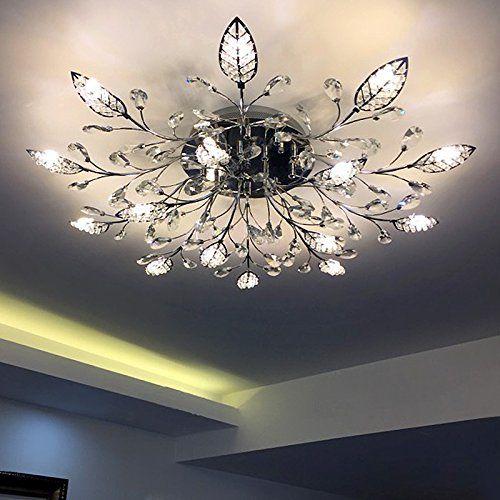 Sankd Modern Chandelier Crystal Leaf Ceiling Light For Bedroom Warm White Pendant Silver Diameter 12 Ceiling Lights Crystal Ceiling Lamps Modern Ceiling Light