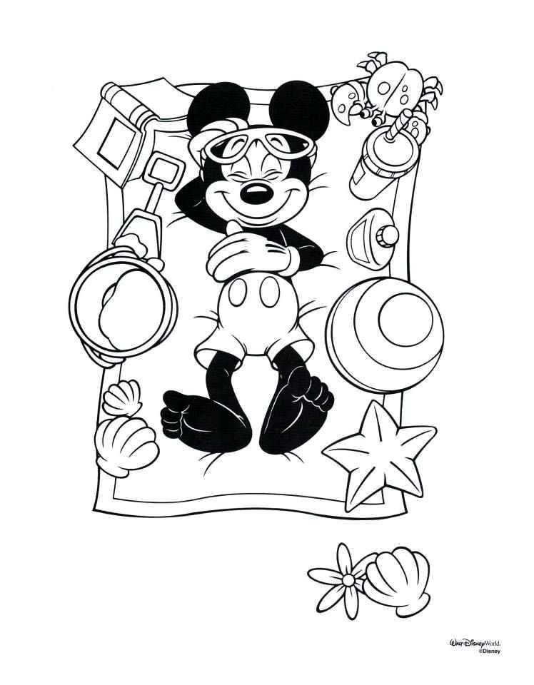 Mickey At The Beach Disney Coloring Pages Printables Disney Coloring Pages Coloring For Kids
