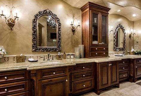 Master bath cabinets & tile flooring