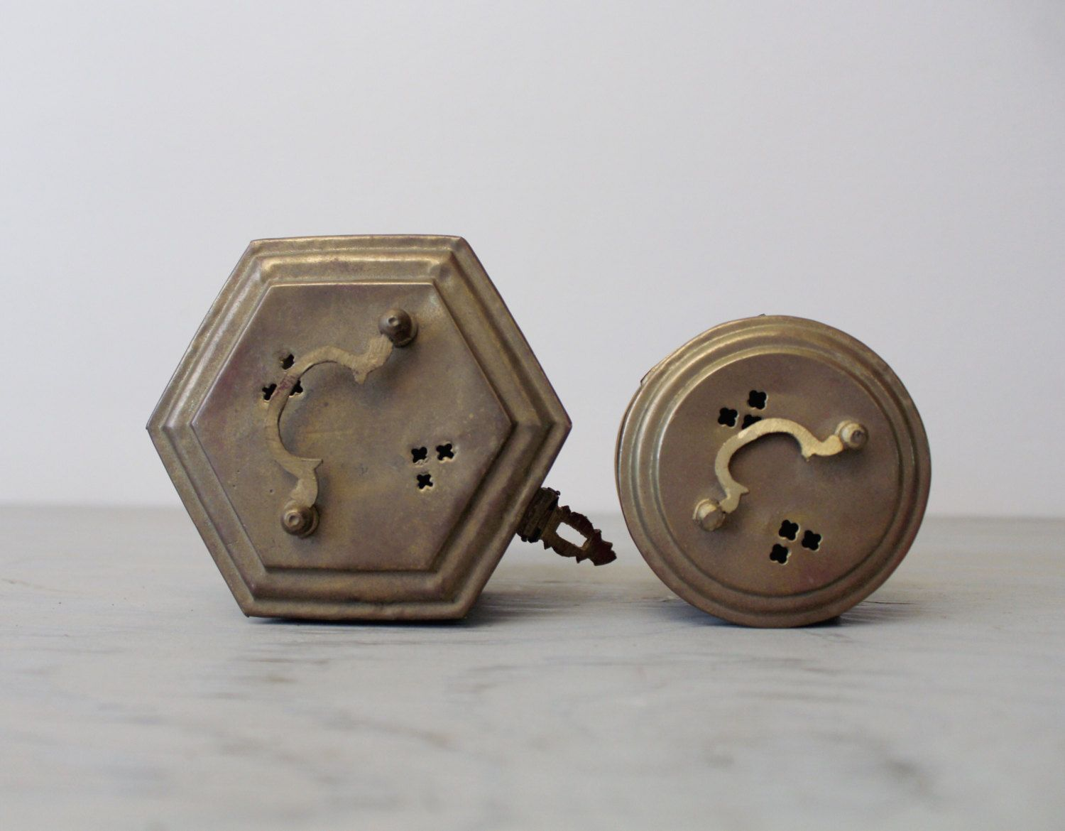Pair of Vintage Brass Trinket Boxes Hexagonal Brass Cricket Box