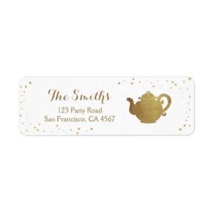Tea Party Return Address Label Teapot Gold Bridal  Birthday Gifts