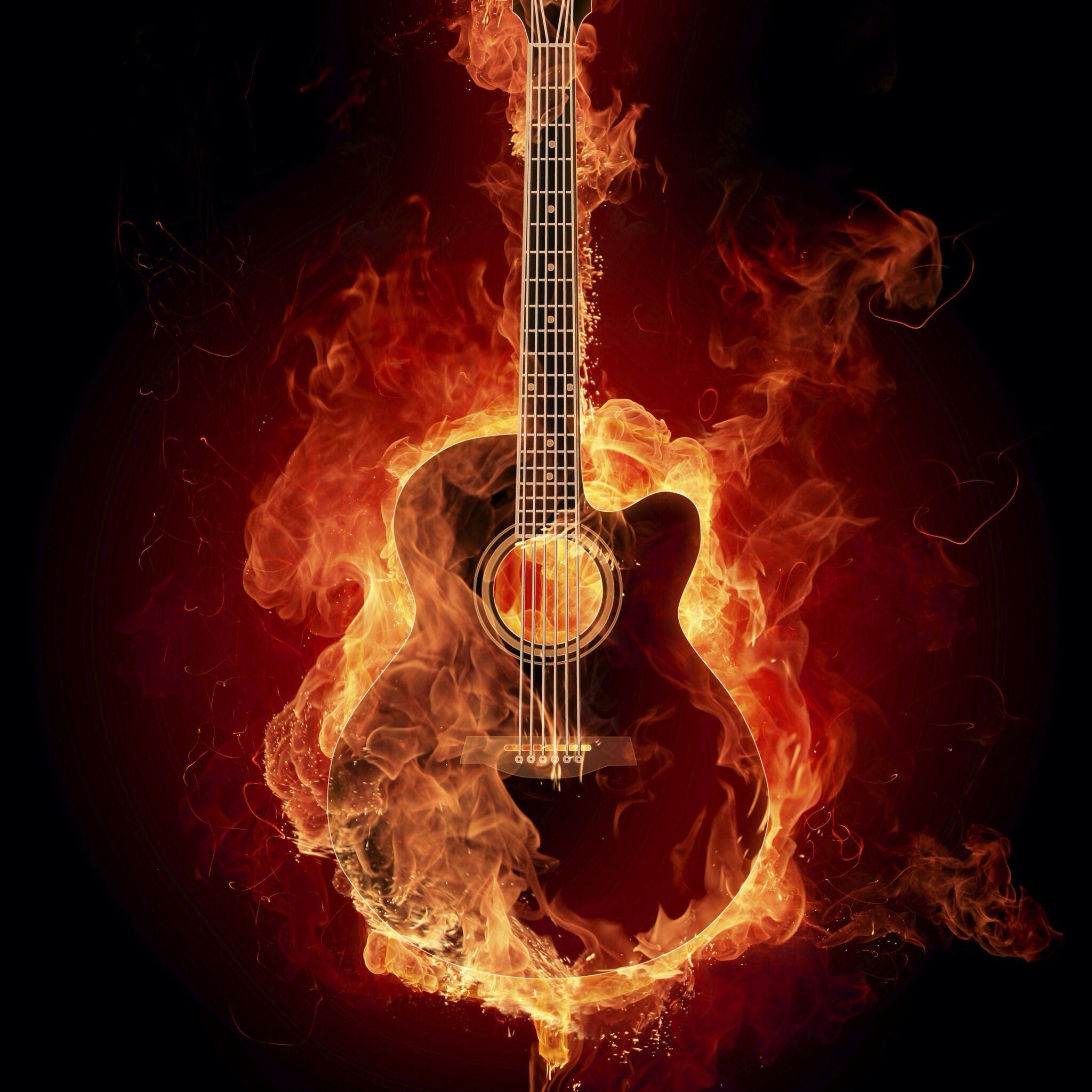 Cool Guitar Wallpaper Guitar Images Fire Art Music Wallpaper
