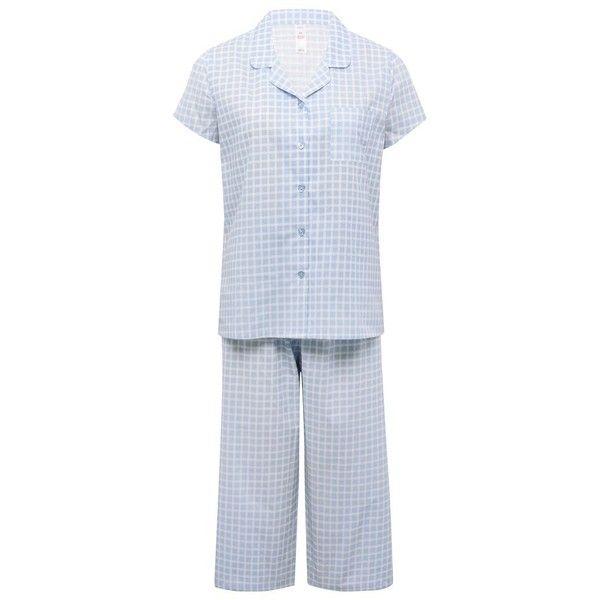 M&Co Check Print Cropped Pyjamas ($28) ❤ liked on Polyvore featuring intimates, sleepwear, pajamas, blue, button up pajamas, cotton pajamas, short sleeve cotton pajamas, cotton pjs and cotton sleepwear