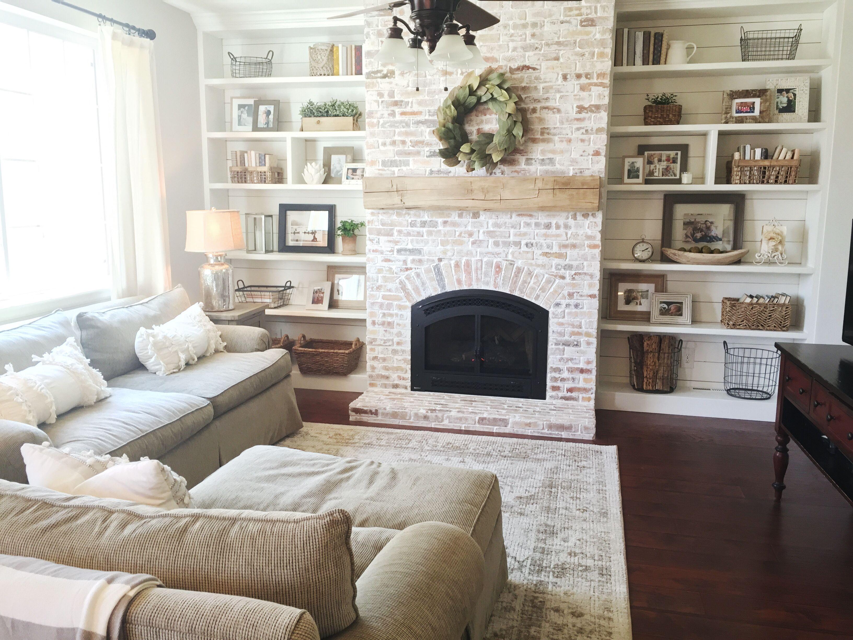 Built Ins, Shiplap, Whitewash Brick Fireplace, Bookshelf