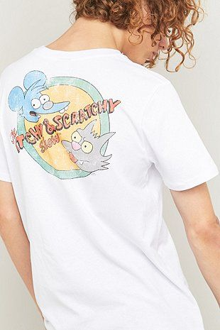 Urban Outfitters T-shirt Itchy & Scratchy White Tee - Urban Outfitters
