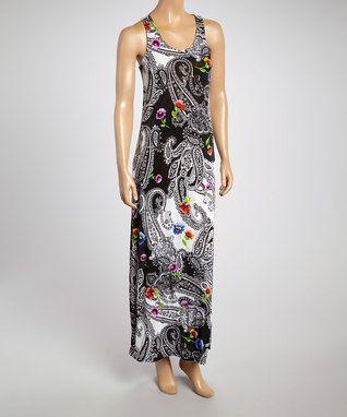 Black & White Paisley Maxi Dress - Women