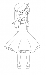 How To Draw A Girl In A Dress By Jedec Dessin Petite Fille
