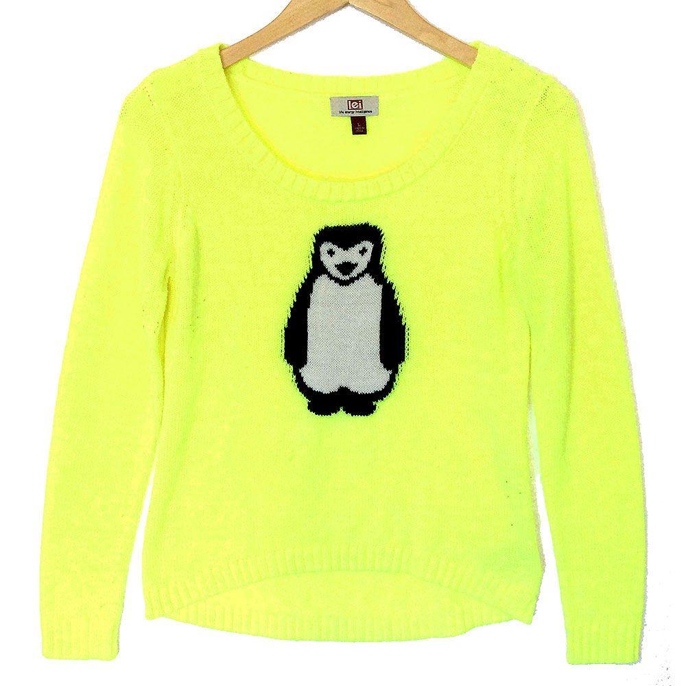 Chartreuse Penguin Hi-Lo Tacky Ugly Christmas Sweater