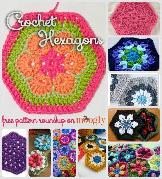 Happy Hexies: 10 Free Crochet Hexagon Patterns! ✿⊱╮Teresa Restegui http://www.pinterest.com/teretegui/✿⊱╮