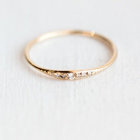 Tiny Stackable Solid 14k Gold Band with White Diamonds shop