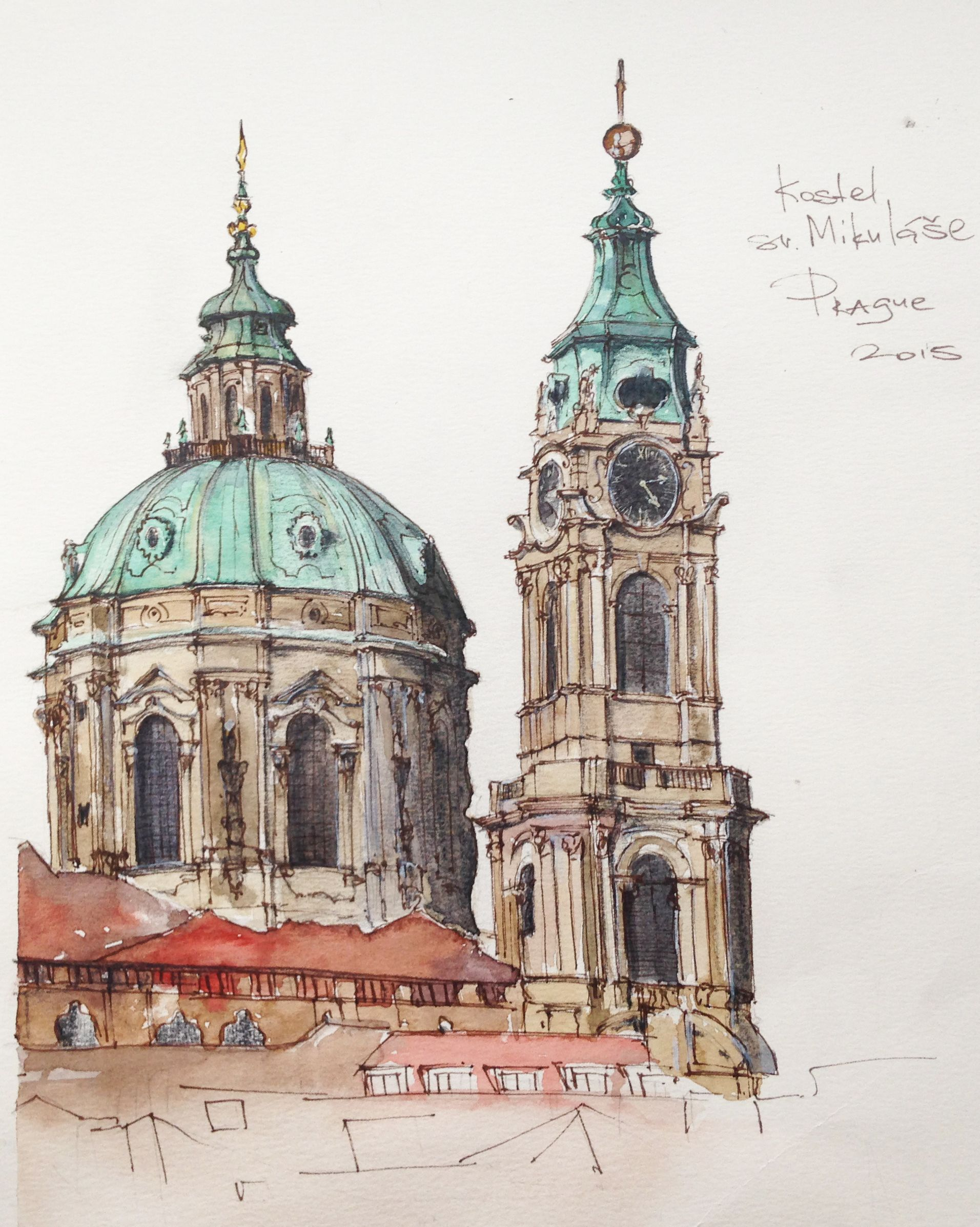 Prague Czech Republic Watercolor Pen Graphic Sketch Design