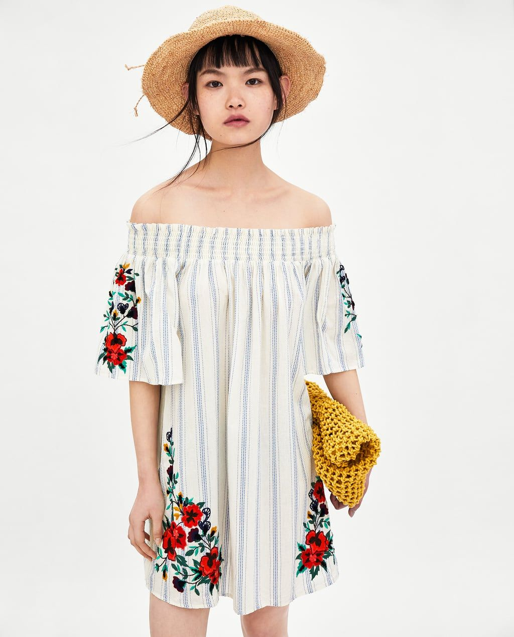 Wedding Gown Surabaya: Image 1 Of EMBROIDERED STRIPED DRESS From Zara