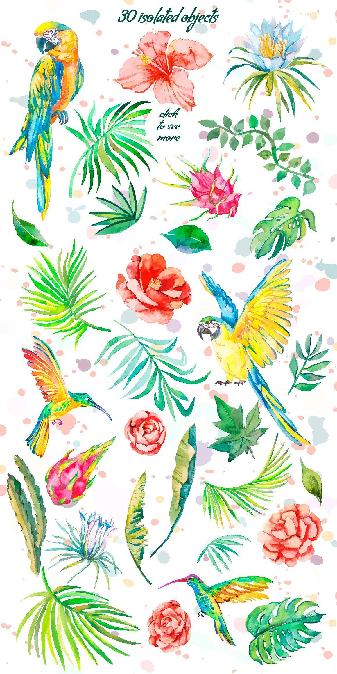 Tropical set tropical art watercolor pattern