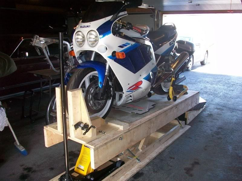 """Wooden Motorcycle Lift by Sauceman -- Homemade motorcycle lift constructed from 3/4"""""""