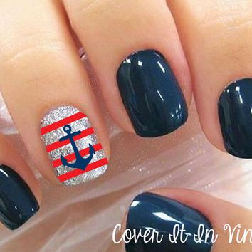 Anchor and Strips Nail Decals - Set of 80 | Nails♡ | Pinterest ...