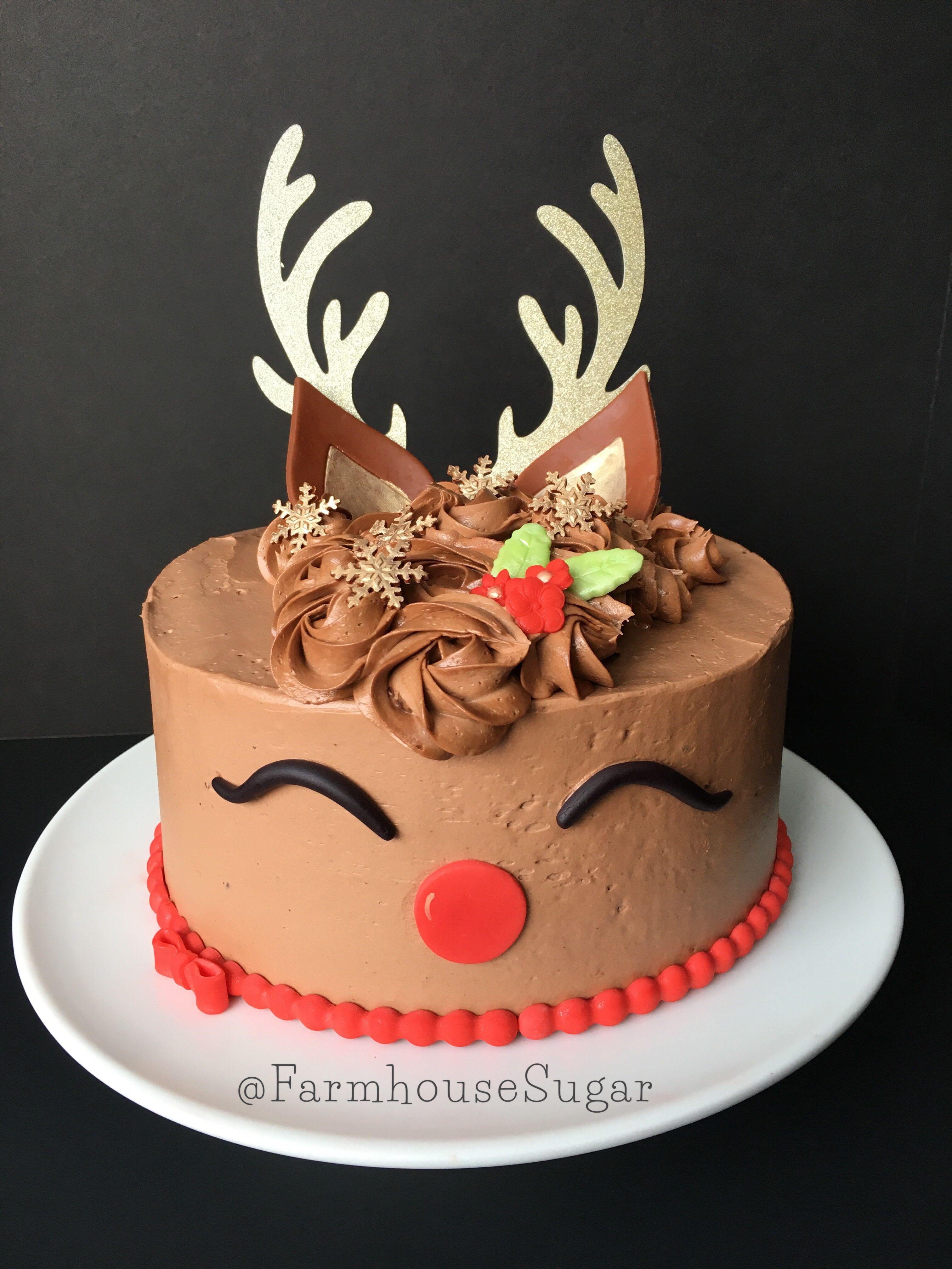 Cute Reindeer Cake Christmas Cake Holiday Cake Winter