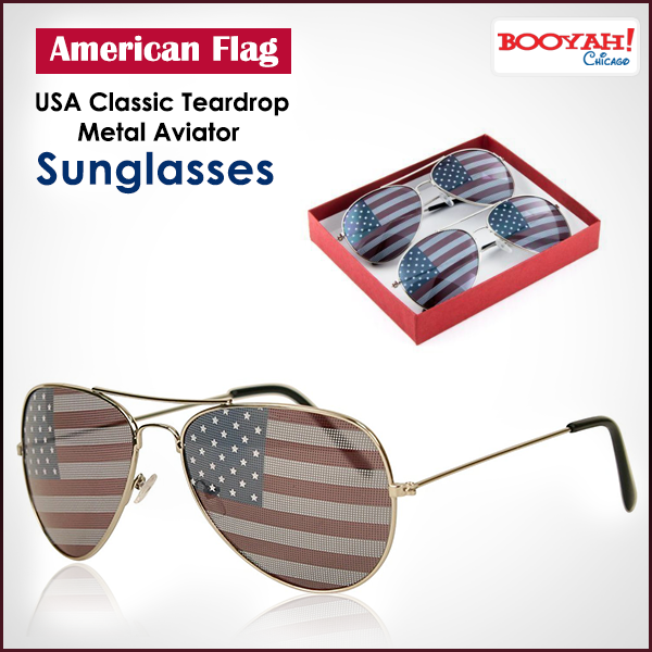 c6a9e6c05dc American Flag USA Classic Teardrop Metal Aviator Sunglasses   GenuineImportedProductsDirectFromUSA Only at Booyahchicago.com http