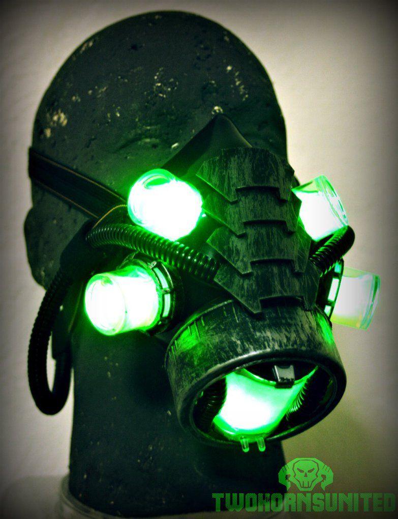 cyber PLASMA led light gas mask respirator, rave, gothic, ebm ...