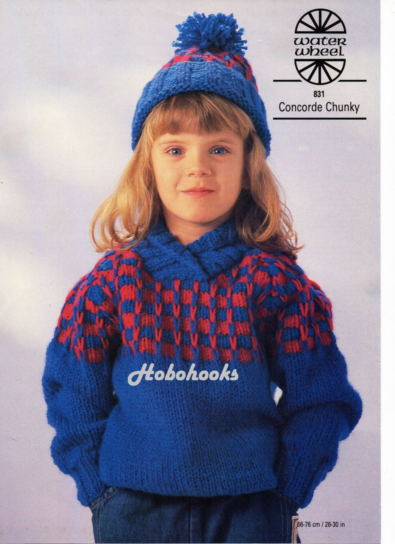 Childrens knitting pattern childrens chunky sweater shawl collar ...