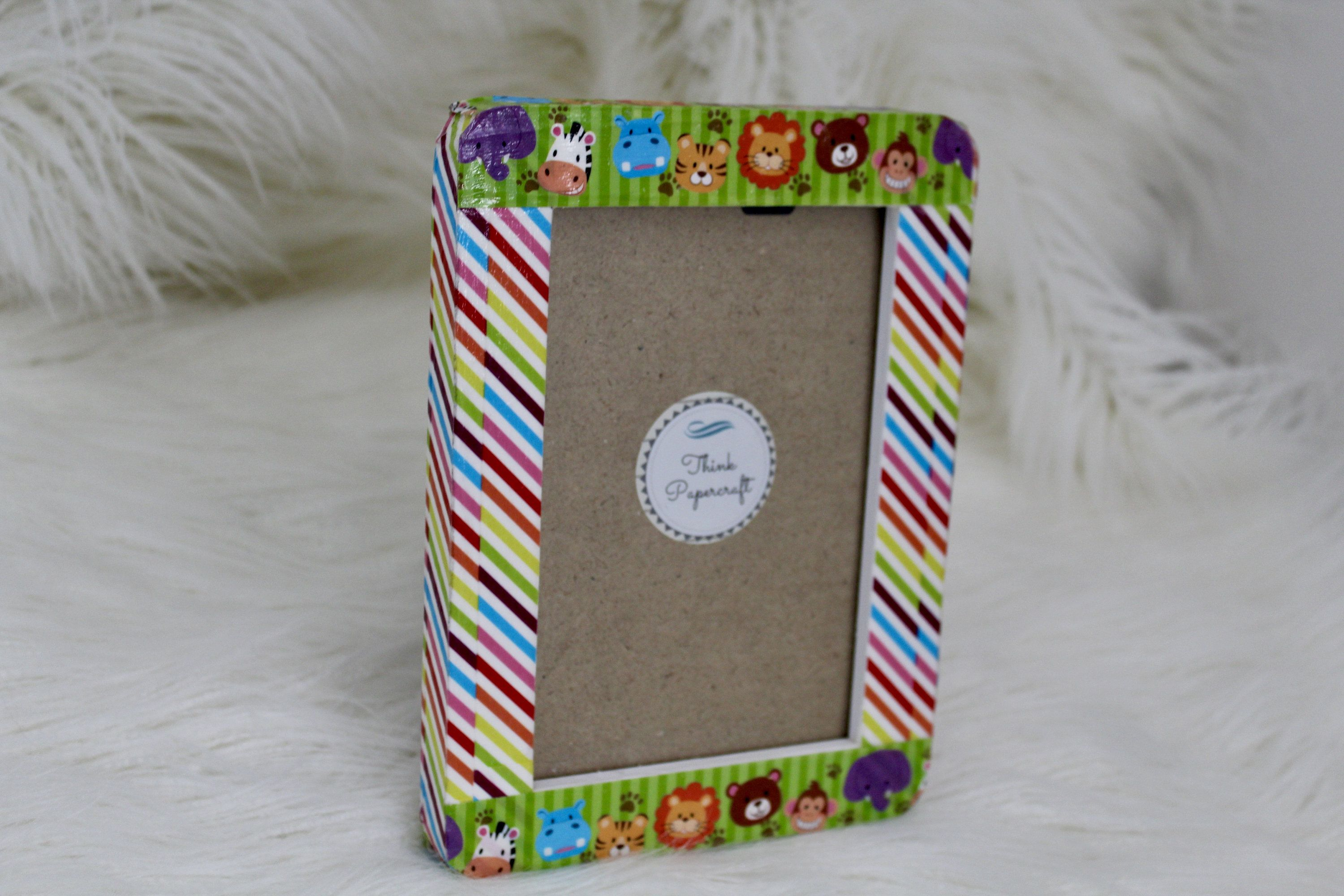 Zoo Animals And Rainbow Stripes Decorated Photo Picture Frame 4x6 Inches 10x15 Cms Unique Birthday Or Baby Shower Gift Photo Decor Rainbow Stripes Picture Frames