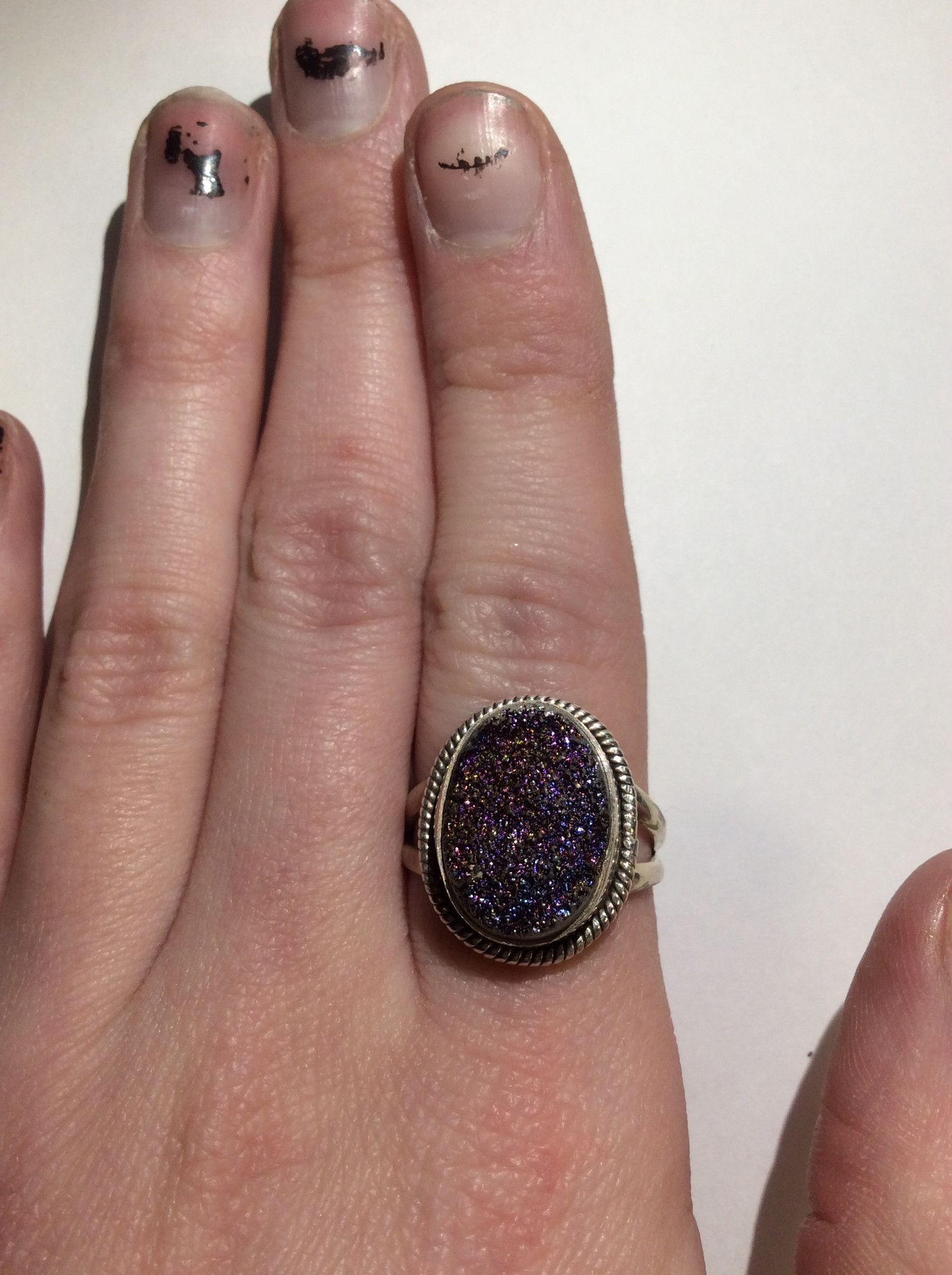 Sterling Pink Druzy Ring